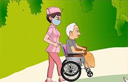 使用轮椅转运老年人外出活动